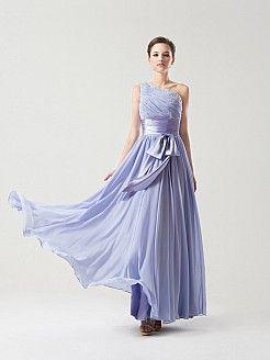Abigale - Eine Schulter A Linie Chiffon Brautjungfer Kleid mit Schärpe - EUR 118,51€