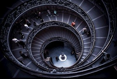 Leonard Andersson - Downstairs in the Vatican. Spiral staircase.