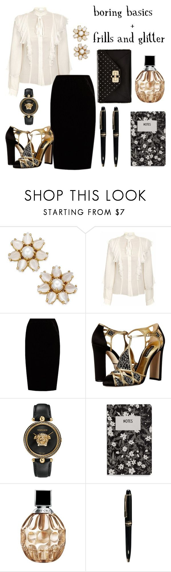 """""""Boring basics 1"""" by tharusmiles ❤ liked on Polyvore featuring Kate Spade, JIRI KALFAR, Jupe By Jackie, Dolce&Gabbana, Versace, Design Letters, Jimmy Choo, Mont Blanc and Diane Von Furstenberg"""