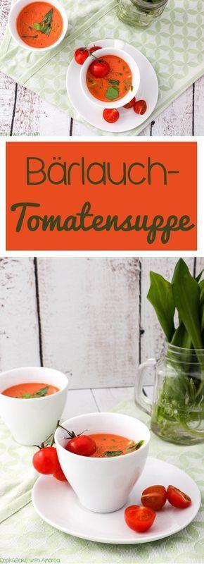 Suppen und Frühling muss kein Widerspruch sein! Mit dieser fruchtig saisonalen Bärlauch- Tomatensuppe mit Ziegenfrischkäse beweist es euch. #bärlauch #tomate #cremesuppe #suppe #frühling #saison #herzhaft #rezept #fruchtig #süß #grün #vorspeise #sommer #foodblog #blog #candbwithandrea #kräuter