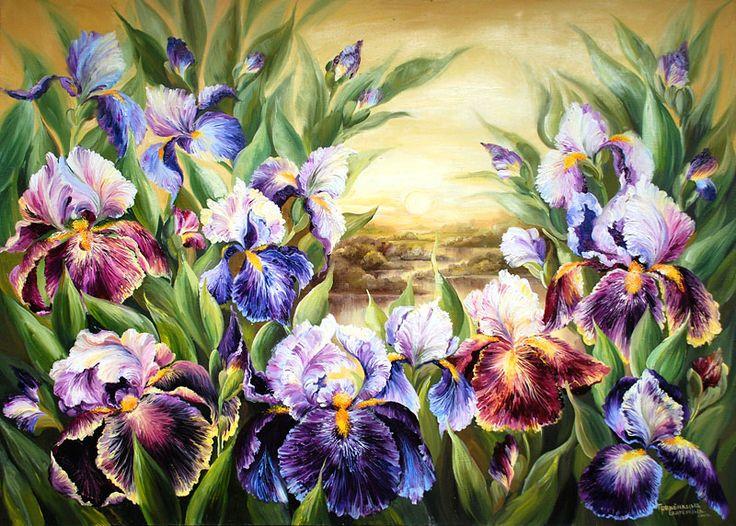 Картины - Цветы - Пейзаж с ирисами (Холст, масло)