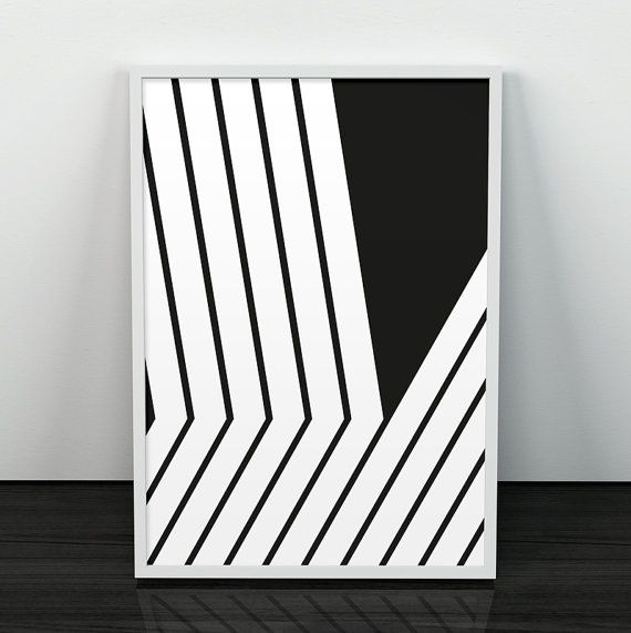 Black lines art, Lines print, Modern poster, Abstract art, Mid century modern, Minimalist print, Black and white, Monochrome, Modernism art – Andrea Black