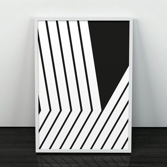 Black lines art, Lines print, Modern poster, Abstract art, Mid century modern, Minimalist print, Black and white, Monochrome, Modernism art
