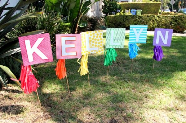DIY Party Lawn Sign :  Rainbow Birthday decoration ideas & inspiration.