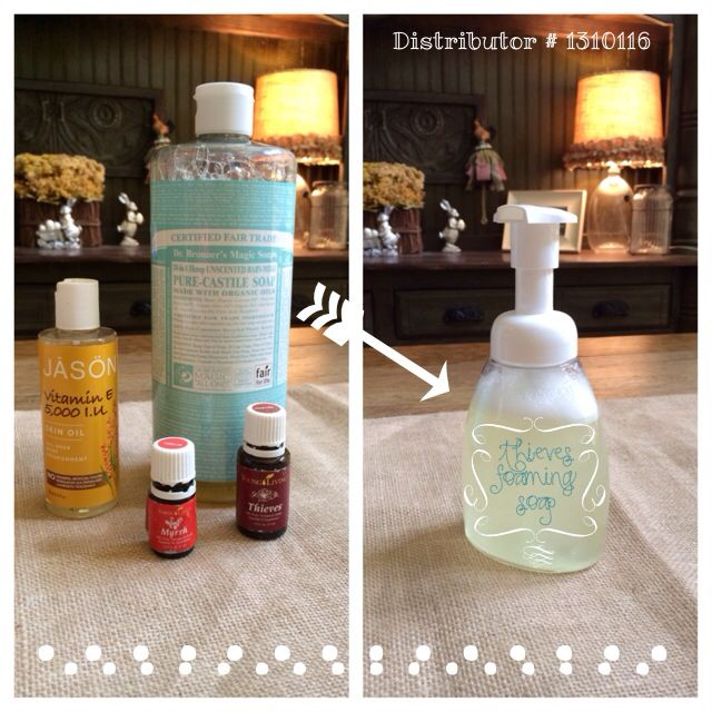 Thieves Foaming Hand Soap - 2 tbsp unscented Castile soap, 1 tsp vitamin E oil, 12 drop Young Living Thieves essential oil and 2 drops Young Living Myrrh essential oil