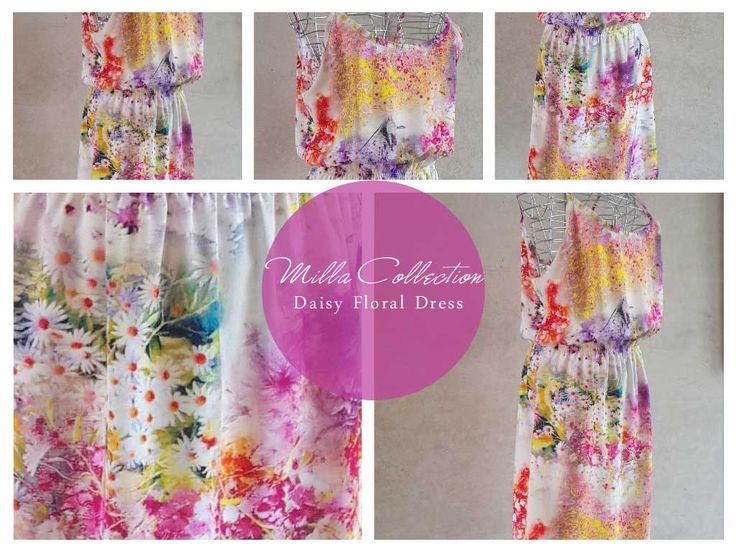Pink & white daisy floral dress