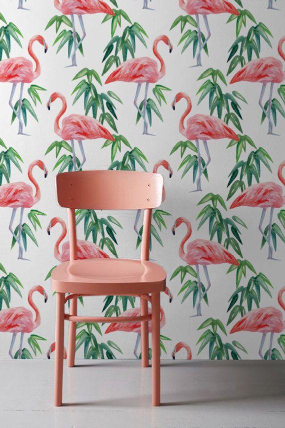 PINK FLAMINGO wallpaper Tropical removable by WallfloraShop