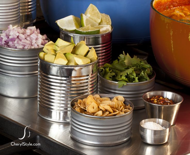 Love the look of serving the toppings in cans! And it's cheap! Simple Party Ideas—Self-Serve Chili Bar on http://www.cherylstyle.com