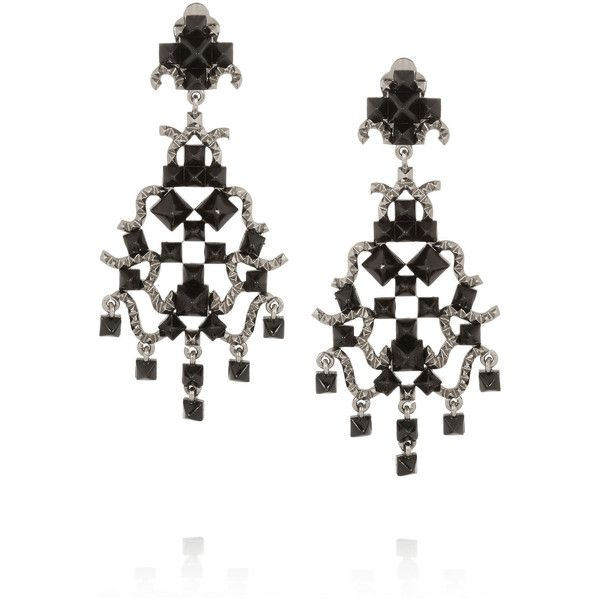 Valentino Enameled ruthenium-tone clip earrings (25,090 INR) ❤ liked on Polyvore featuring jewelry, earrings, store, chandelier jewelry, black earrings, kohl jewelry, chandelier earrings and enamel earrings