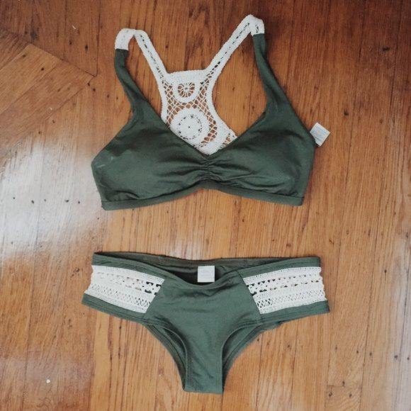 L*space hunter green 2-piece swimsuit Worn once and hand washed. Suit has beautiful feminine crochet accents. 2015 season - wild child top, boho bottoms. Mid coverage bottoms and comes with pads in top! l*space Swim Bikinis