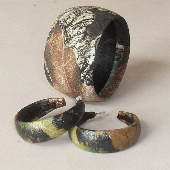 Camo jewelry Mossy Oak camouflage bangle by PearlBeachTreasures, $12.00