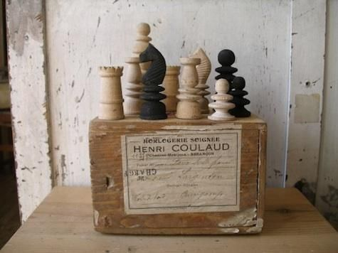 antique chess set from tamiser antiques, tokyo.