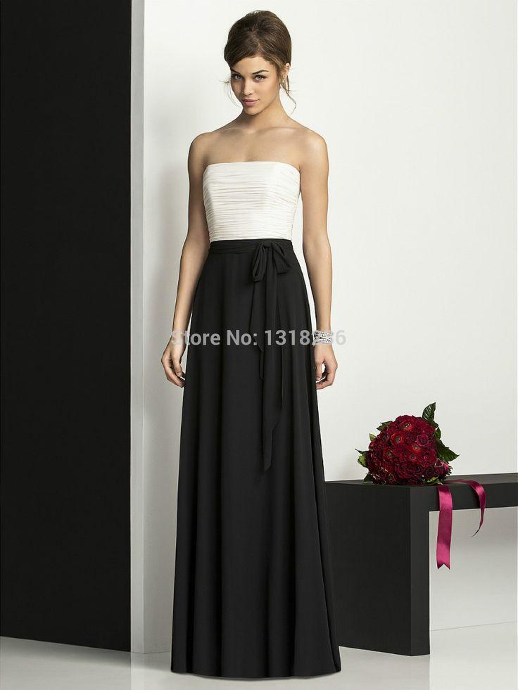 Колонки длиной до пола , черные складки без бретелек с плеча рукавов шифон молния ленты вечерние платья