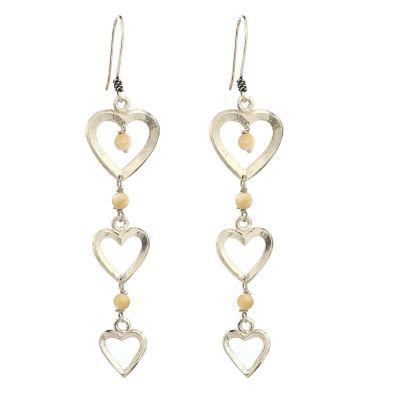 925 Ayar Gümüş Taşlı Kalp Modeli Telkari Küpe