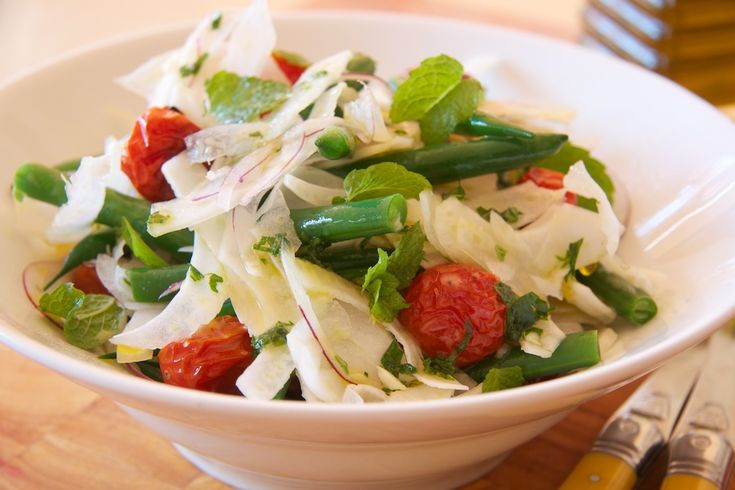 Green Bean and Fennel Salad with Roasted Tomatoes