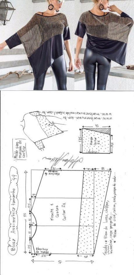 Blusa assimétrica dois tecidos   DIY - molde, corte e costura - Marlene Mukai