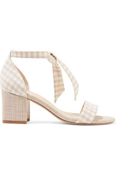 Alexandre Birman | Clarita bow-embellished gingham and canvas sandals | NET-A-PORTER.COM