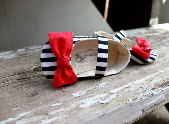 Toddler Girl Shoes Soft Soled Shoes Spring Shoes Summer Shoes Nautical Shoes Blue White Stripes Shoes Red Bow- Navy Jayne- Sizes 5-9. $34.00, via Etsy.