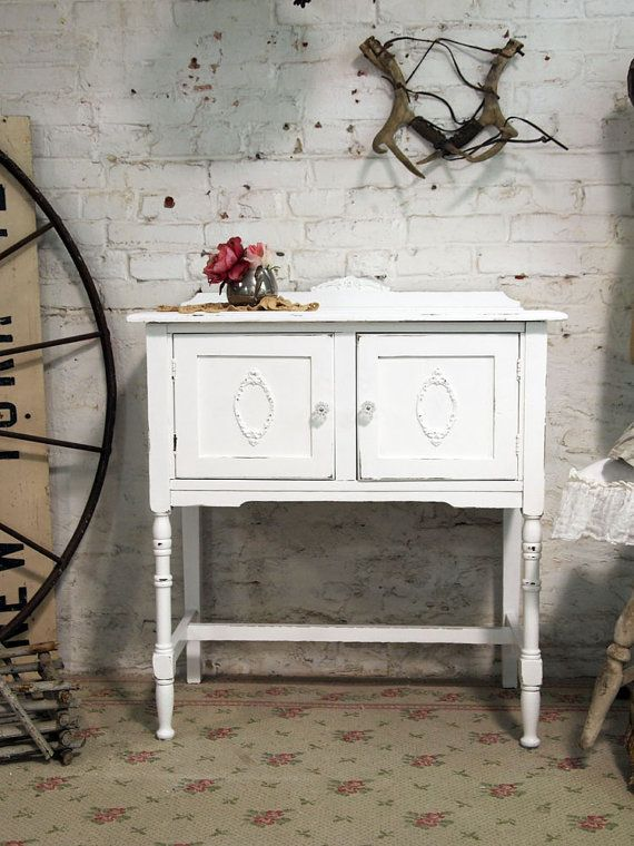 Painted Cottage Chic Shabby White Server buffet.would love something like this for my dining room.