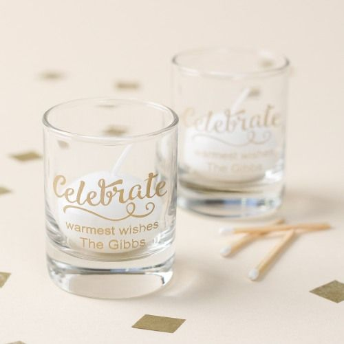 Personalized Holiday Shot Glass Votive Holder by Beau-coup