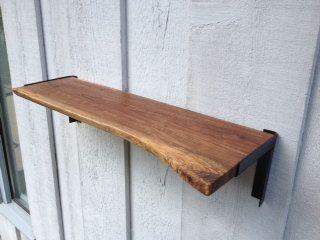 Reclaimed Raw Edge Walnut Shelf W Sleek Steel Brackets