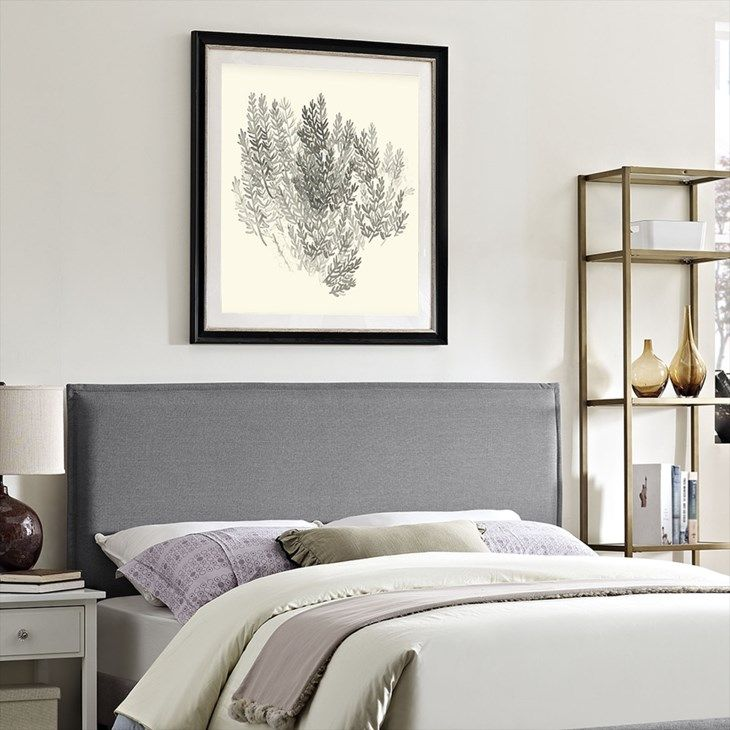 Camille Queen Upholstered Fabric Headboard in Light Gray - LexMod
