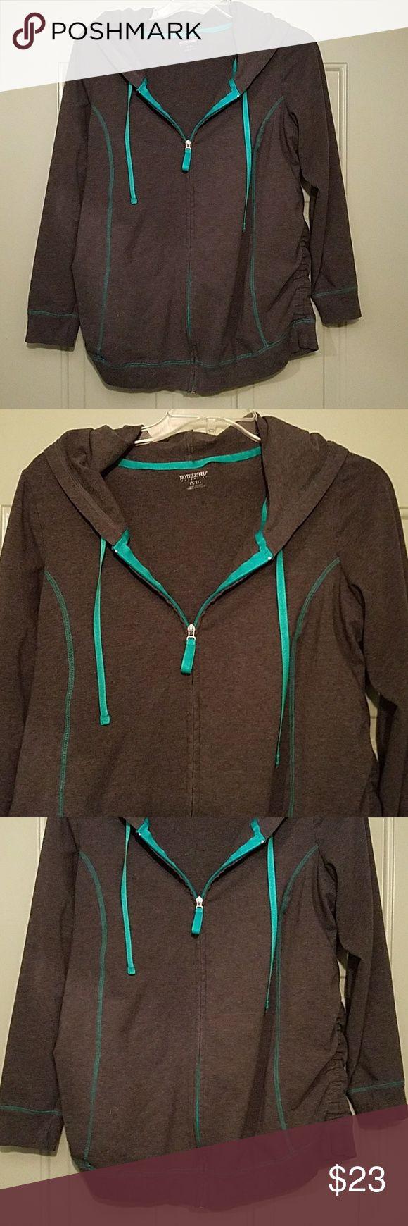 bnwot maternity zip up hoodie size 1x grey with mint green Motherhood Maternity Sweaters