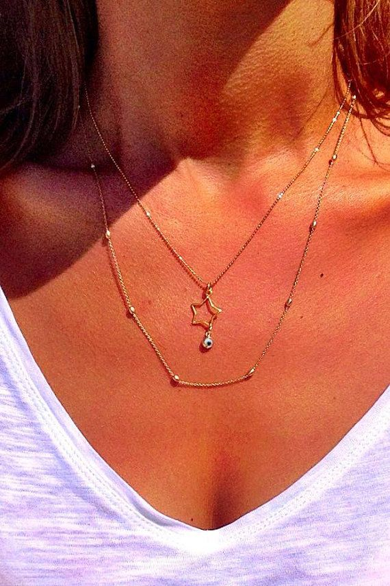 Star Necklace Gold 24k Plated Star Pendant by ChristinaChristiJls