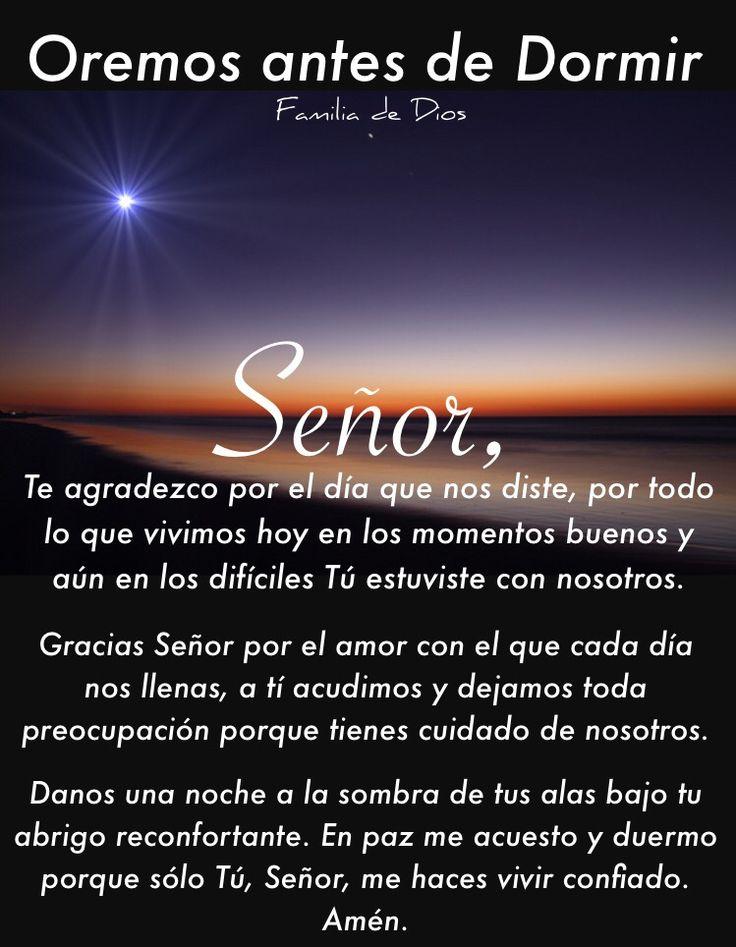 Oración de la noche / Gracias Dios / un nuevo día / oración / Dios / Jesús / anochecer / buenas noches / oremos antes de dormir