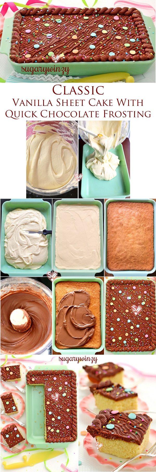 Torta de la hoja SugaryWinzy clásico de vainilla con helar del chocolate rápida