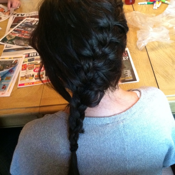 Just did my sisters hair like Katniss' from the Hunger Games, she is in love. It's a French braid and then at the side it's a regular braid :) sonicice07