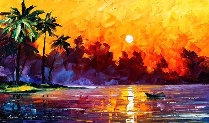 Sunset Paintings by Famous Artists | TULUM — PALETTE KNIFE ...
