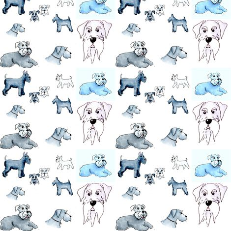 Miniature Standard and Giant schnauzer_collage2 fabric by forestwooddesigns on Spoonflower - custom fabric and gift wrap No minimum order