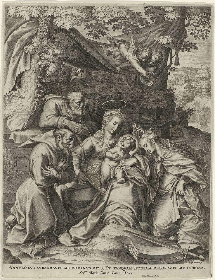Gijsbert van Veen | Mystieke huwelijk van H. Catharina van Alexandrië, Gijsbert van Veen, 1573 - 1628 | Maria met Kind op schoot, zittend in een landschap onder een baldakijn. Schuin achter hen Jozef.  Rechts zit de heilige Catharina geknield voor het Christuskind dat haar een ring aanbiedt. Boven haar hoofd een twee engelen met een lauwerkrans. Op de grond liggen haar attributen zwaard en gebroken rad. Links zit de heilige Franciscus.