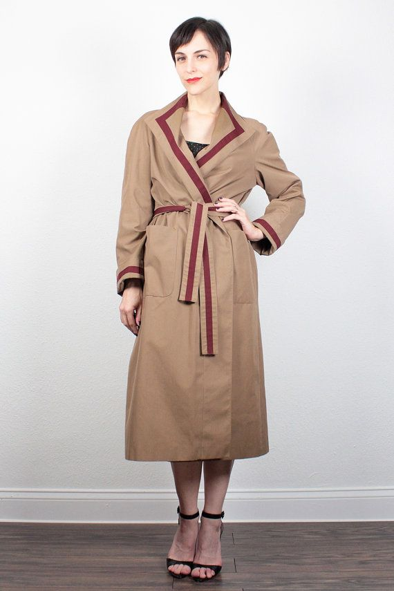 Vintage 70s Etienne Aigner Trench Coat Camel Tan Burgundy Striped Designer Trench Coat Belted Trench Coat Jacket Raincoat S Small M Medium 8 by ShopTwitchVintage #vintage #etsy #70s #1970s #trench #coat #trenchcoat #ettieneaigner