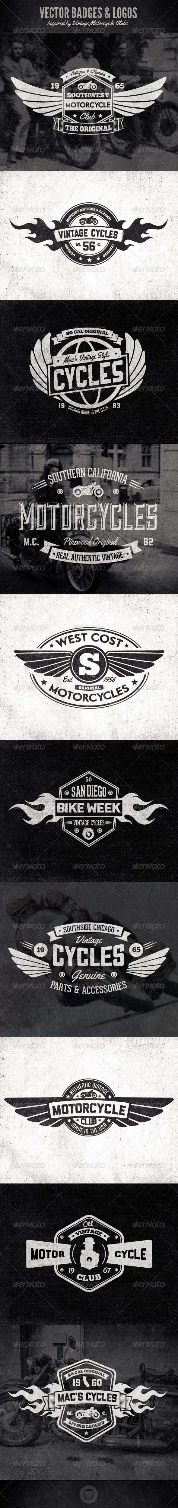 Vintage Badges and Logos - Motorcyle Inspired - Badges & Stickers Web Elements