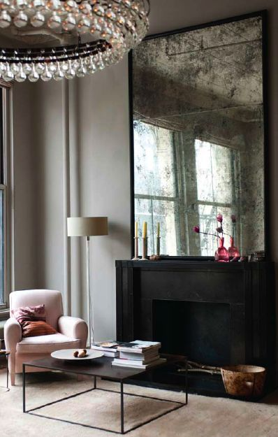 Love the antique mirror & simplicity of the modern interior. From * Chic Provence *