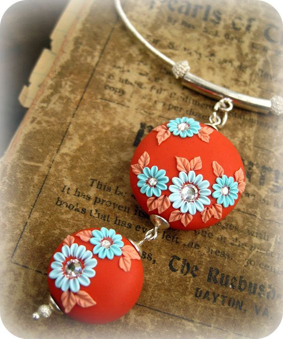 Moobie Grace - Necklace - Polymer Clay  - Flowers - Teal And Orange - Indian Summer - Free Shipping. $35.00, via Etsy.