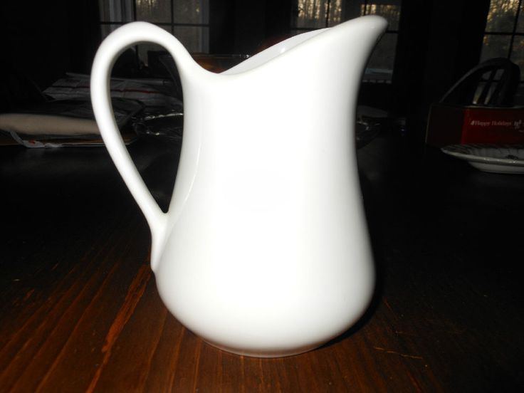 Vintage Pillivuyt France Country White Ironstone Milk Pitcher 16 oz Green Mark sold for $17.99
