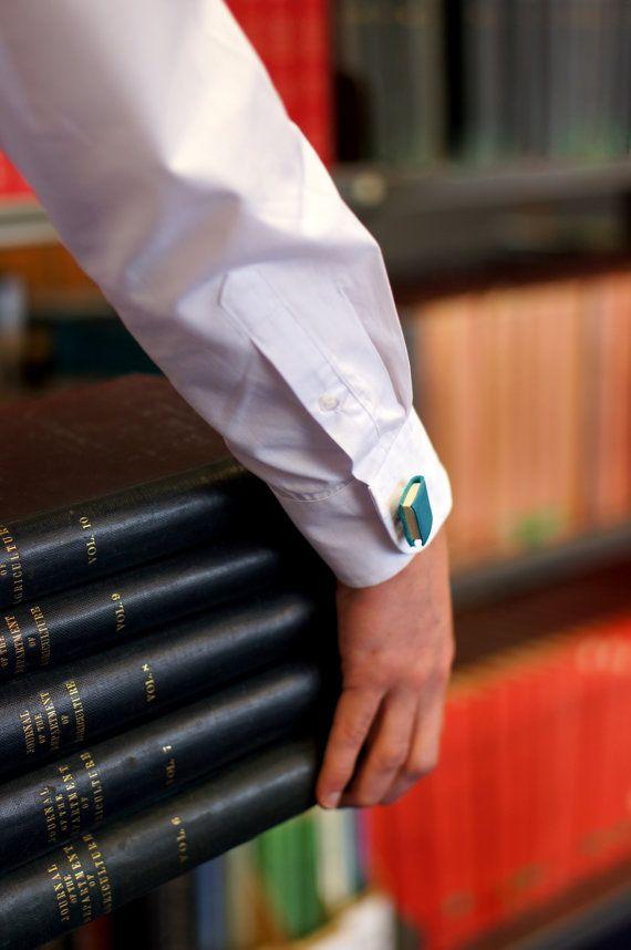 Teal Miniature Book Cuff Links - Small Book Accessory - Colourful Cuff Links - Book Jewellery - Ex Libris Jewellery https://www.etsy.com/nz/shop/ExLibrisJewellery