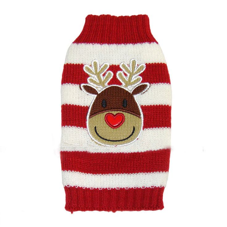 Reindeer Pet Puppy Cat Dog Sweater Striped Knit Coat Apparel Clothes Christmas #BrandNew