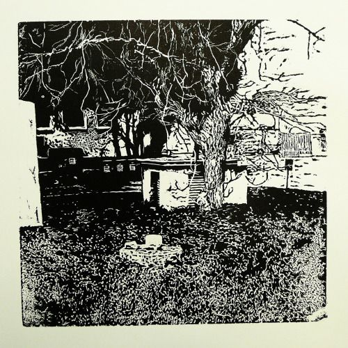Zlatovská 2189-27 [printmaking, cutting into MDF] #printmaking #woodcut #bunker #art #shelters