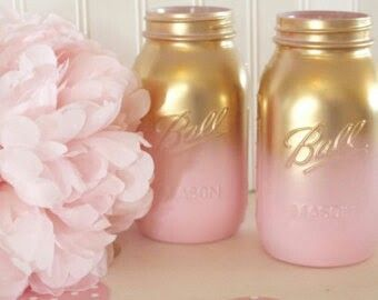Gold and pink mason jars (diy 21st birthday party ideas mason jars)