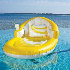 When the clear blue pool beckons, give in! A floating lounger is the perfect way to enjoy the water without pruney fingers. This one boasts an extra-large back rest, pillow, and built-in drink and MP3 holders.