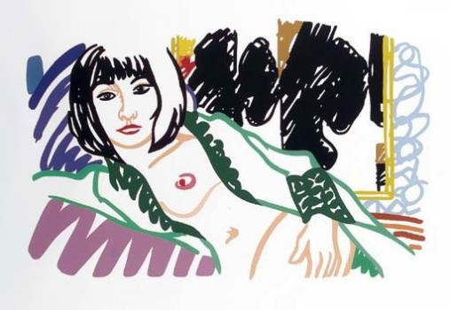 "Tom Wesselmann ""Monica in Robe with Motherwell""  liquitex sur papier cartonné"