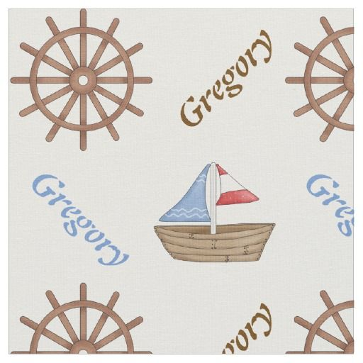 Sailboat and boat's steering wheel nautical personalized fabric