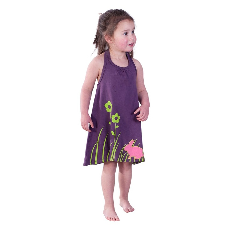 Purple Halter Neck Dress with Grass Print and Applique Bunny
