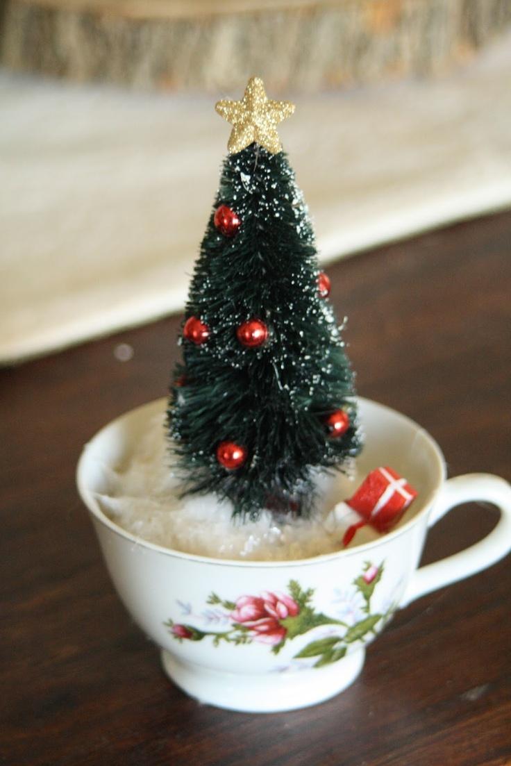 cute idea...Tea Cup Christmas Trees