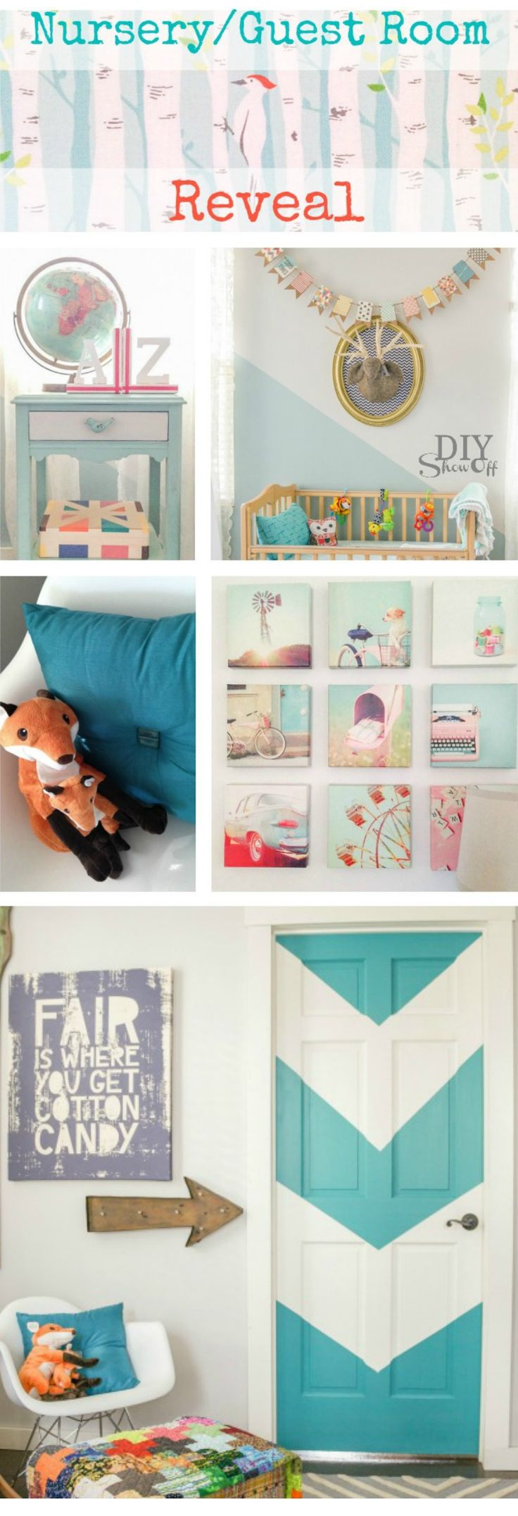 Darling DIY Aqua Chevron Painted Door - Nursery/Guest Room Makeover @diyshowoff