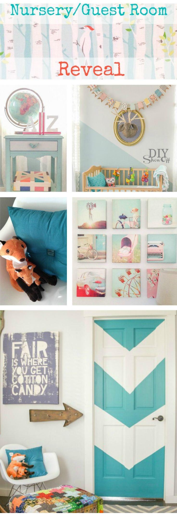 Darling DIY Aqua Chevron Painted Door - Nursery/Guest Room Makeover @diyshowoff